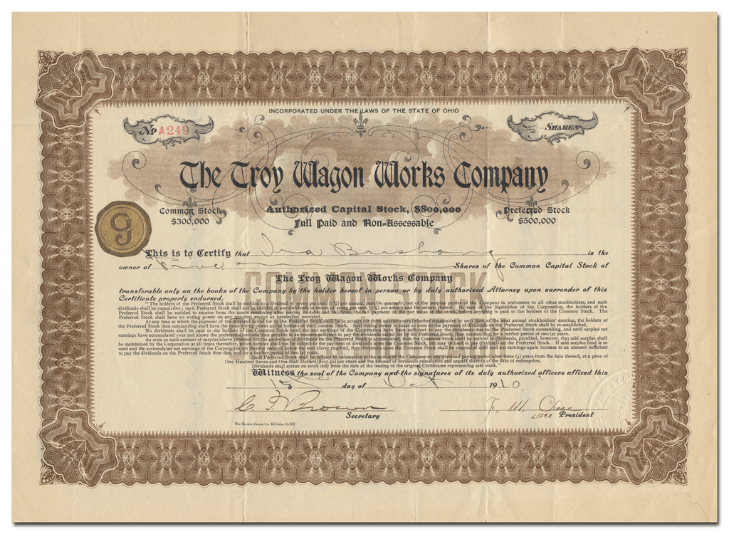 Troy Wagon Works Company Stock Certificate