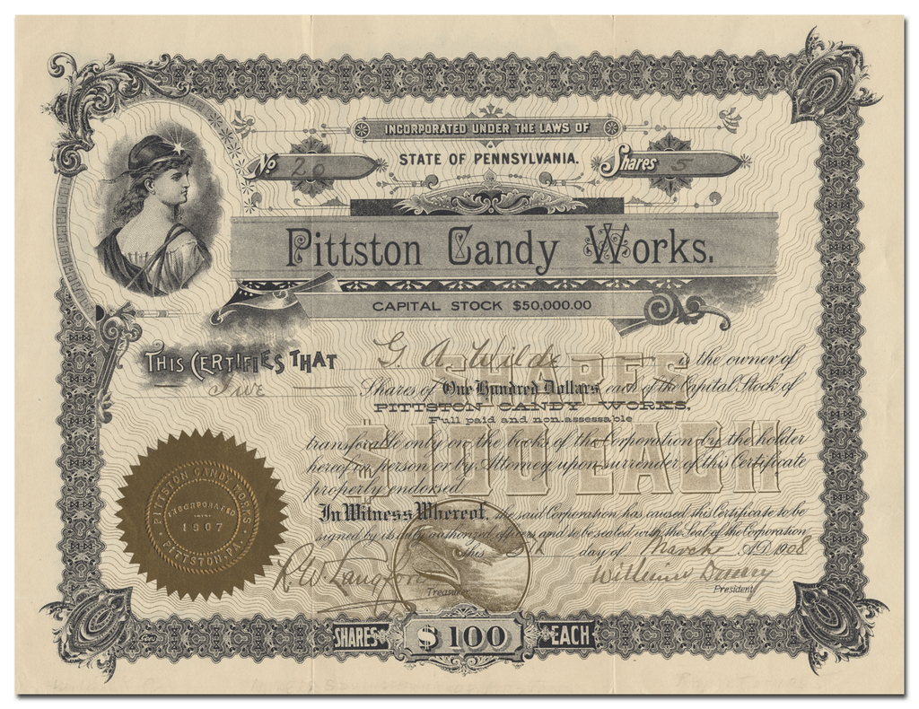 Pittston Candy Works Stock Certificate