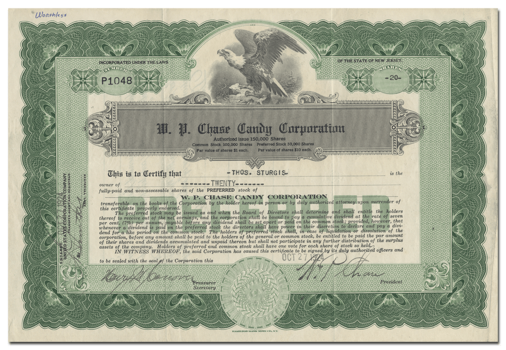 W. P. Chase Candy Corporation Stock Certificate