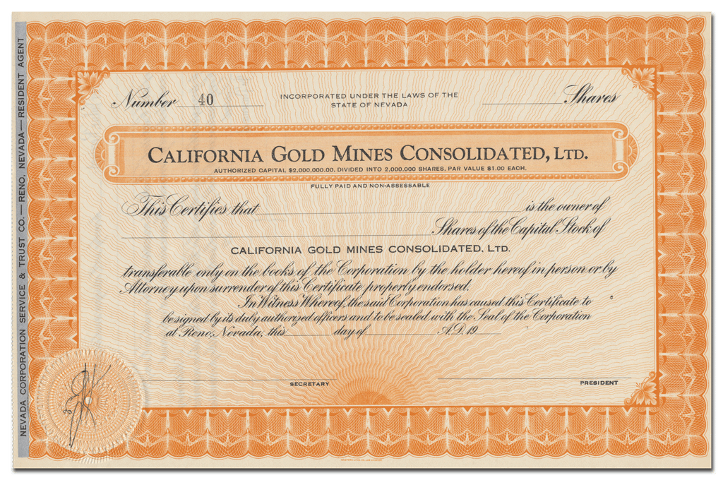 California Gold Mines Consolidated, Ltd. Stock Certificate