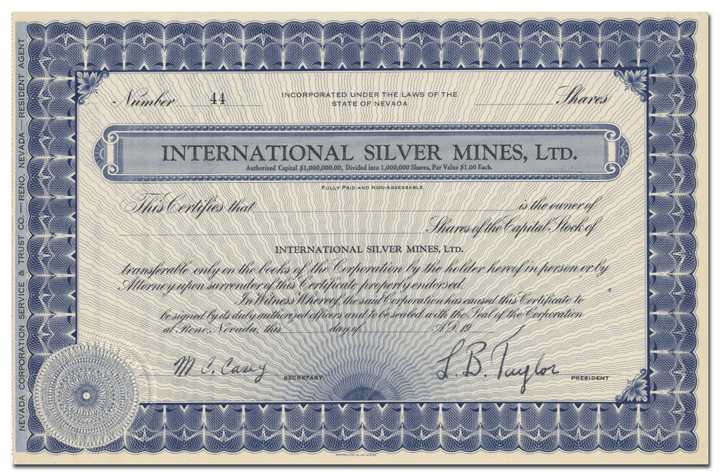 International Silver Mines, Ltd. Stock Certificate