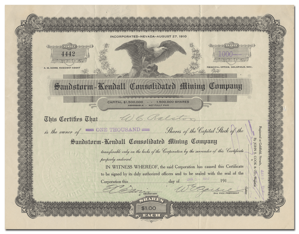 Sandstorm-Kendall Consolidated Mining Company Stock Certificate