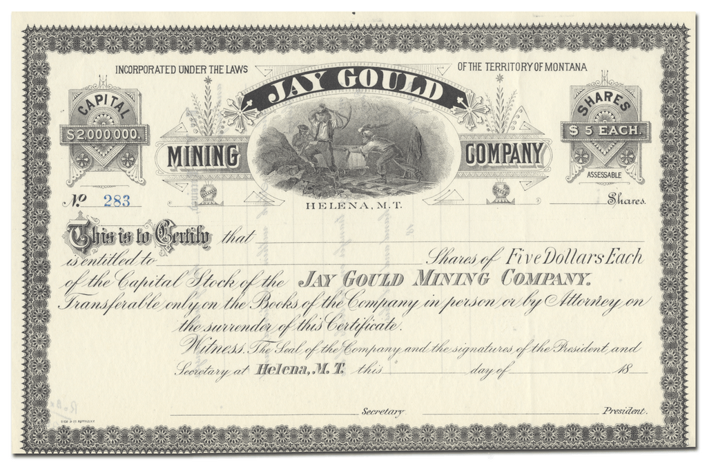 Jay Gould Mining Company Stock Certificate