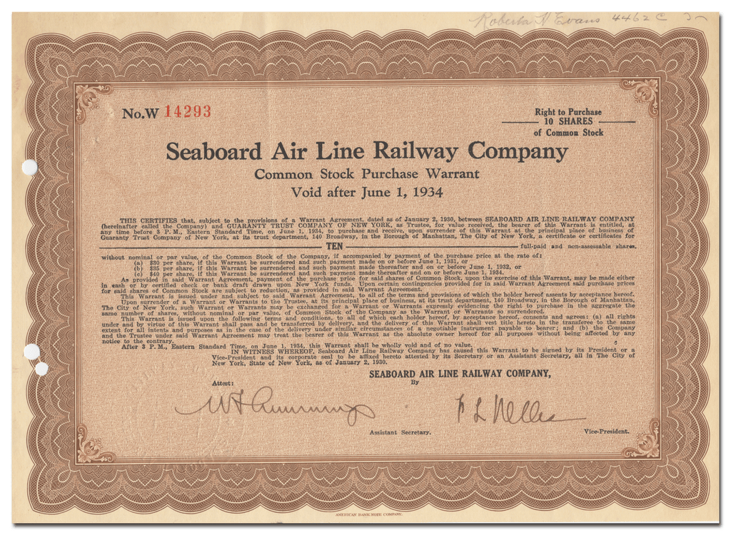 Seaboard Air Line Railway Company Stock Certificate