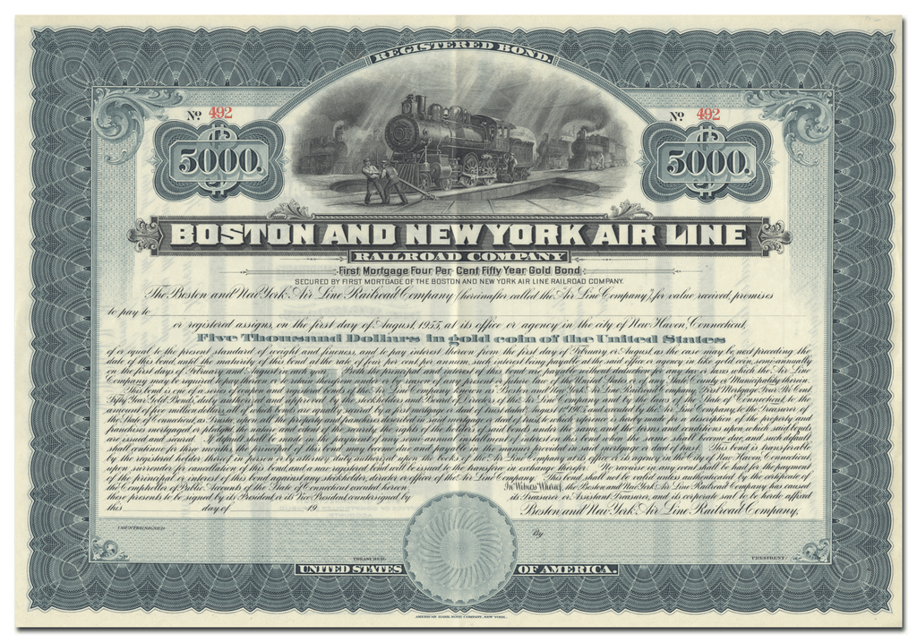 Boston and New York Air Line Railroad Company Stock Certificate
