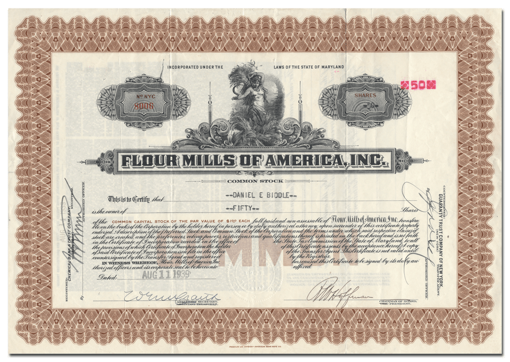 Flour Mills of America, Inc. Stock Certificate