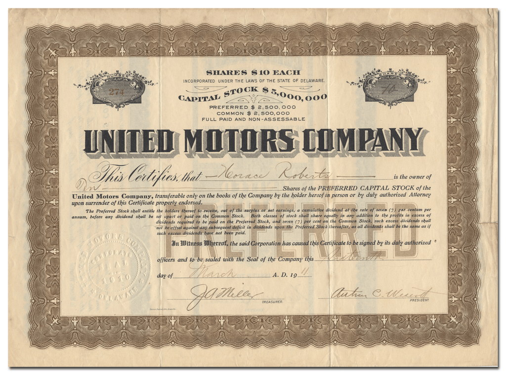 United Motors Company Stock Certificate