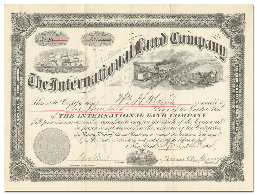 International Land Company Stock Certificate