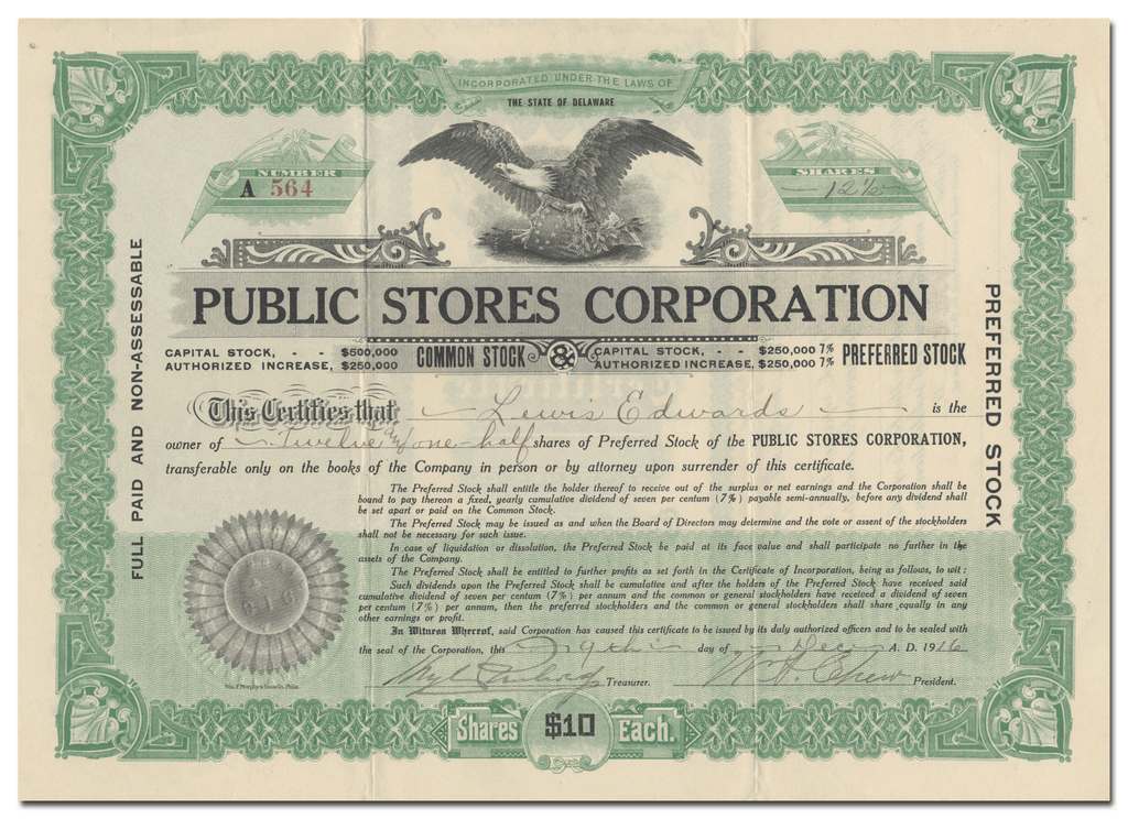 Public Stores Corporation Stock Certificate