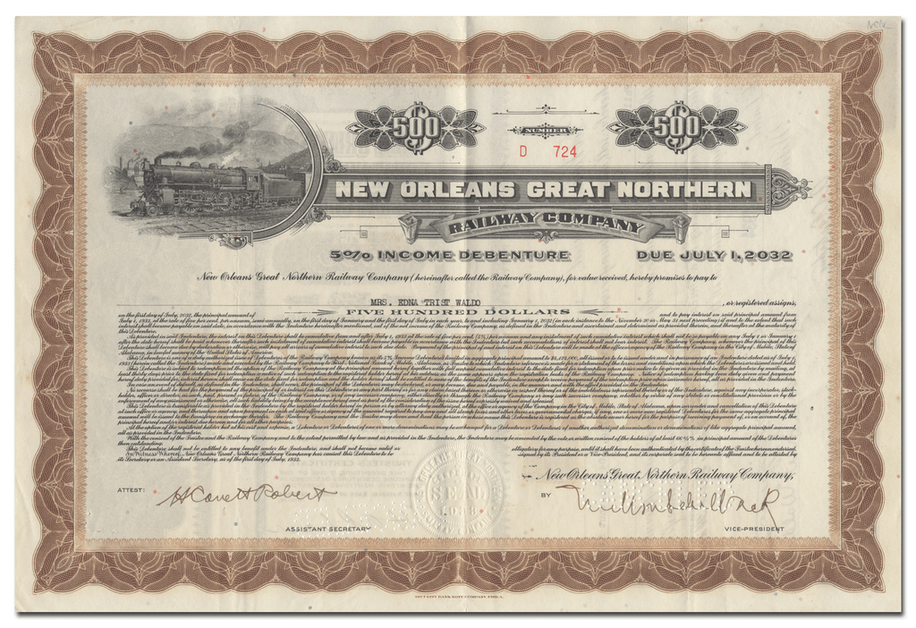 New Orleans Great Northern Railway Company Bond Certificate