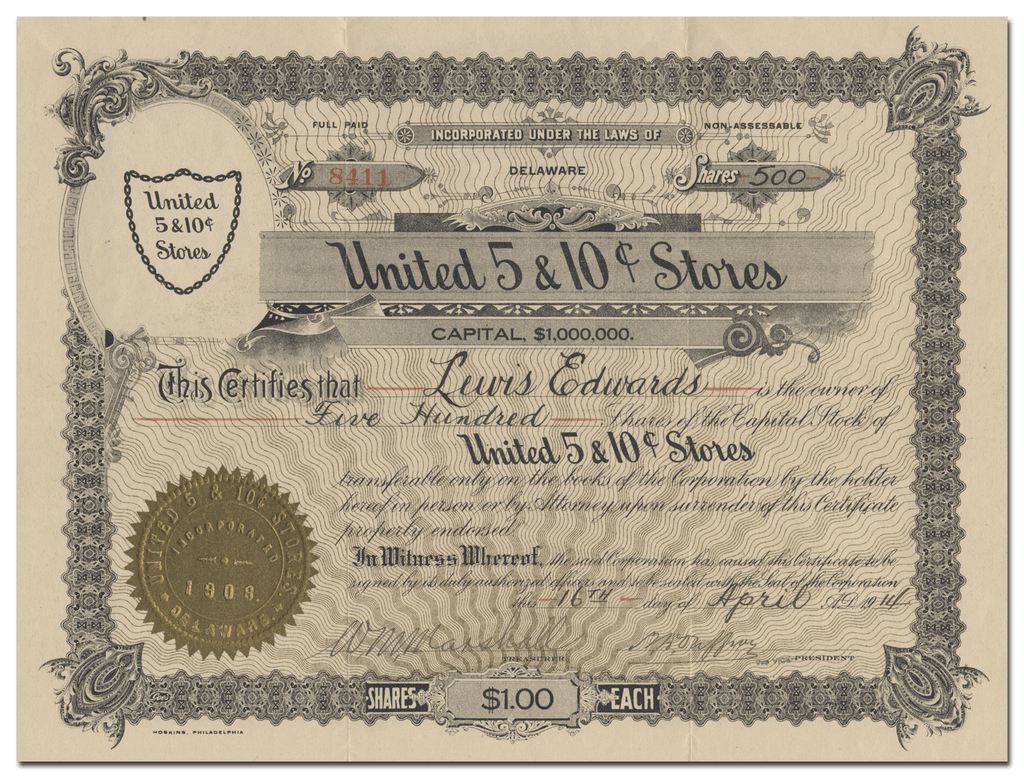 United 5 & 10 Cent Stores Stock Certificate