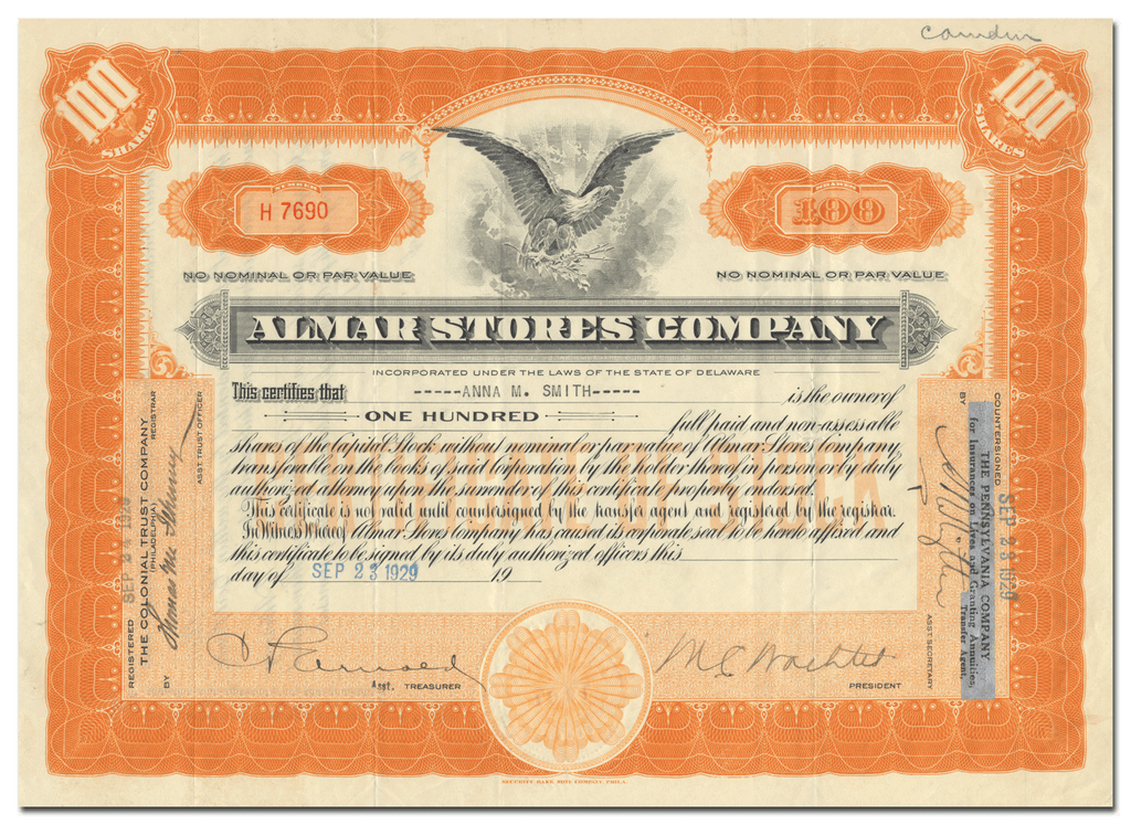 Almar Stores Company Stock Certificate