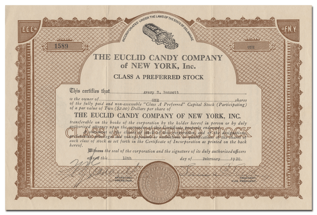 Euclid Candy Company of New York, Inc. Stock Certificate