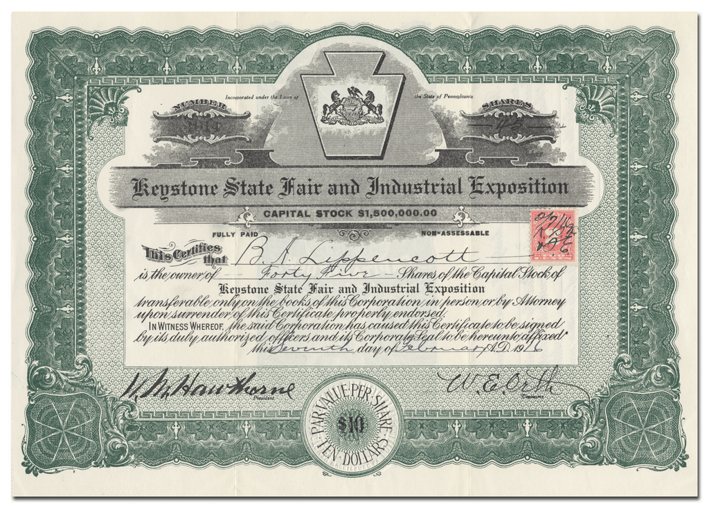 Keystone State Fair and Industrial Exposition Stock Certificate