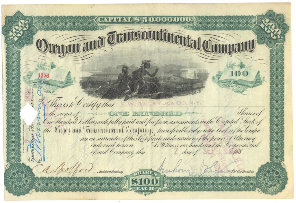 Oregon and Transcontinental Company Stock Certificate