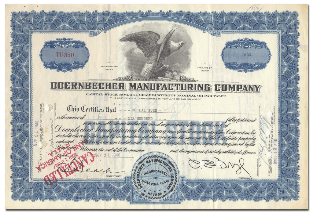Doernbecher Manufacturing Company Stock Certificate