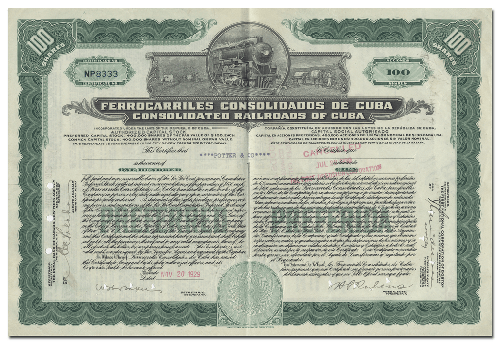 Consolidated Railroads of Cuba Stock Certificate