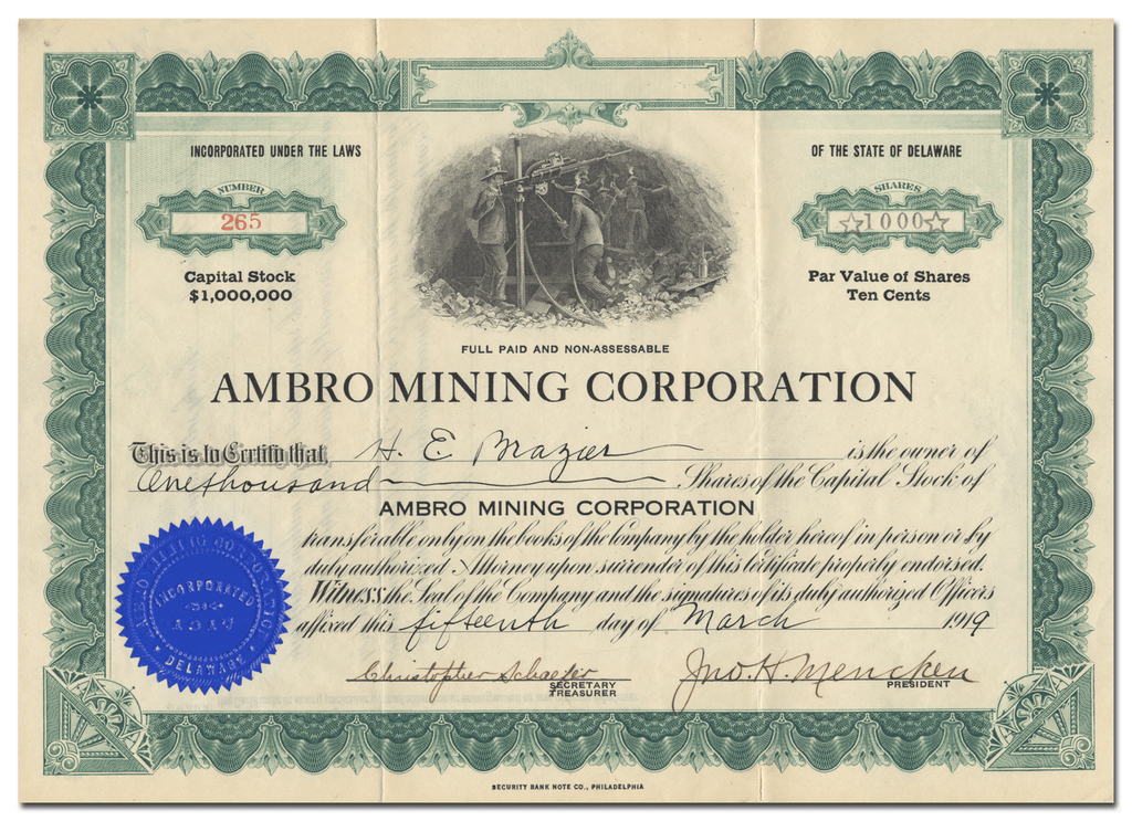 Ambro Mining Corporation Stock Certificate
