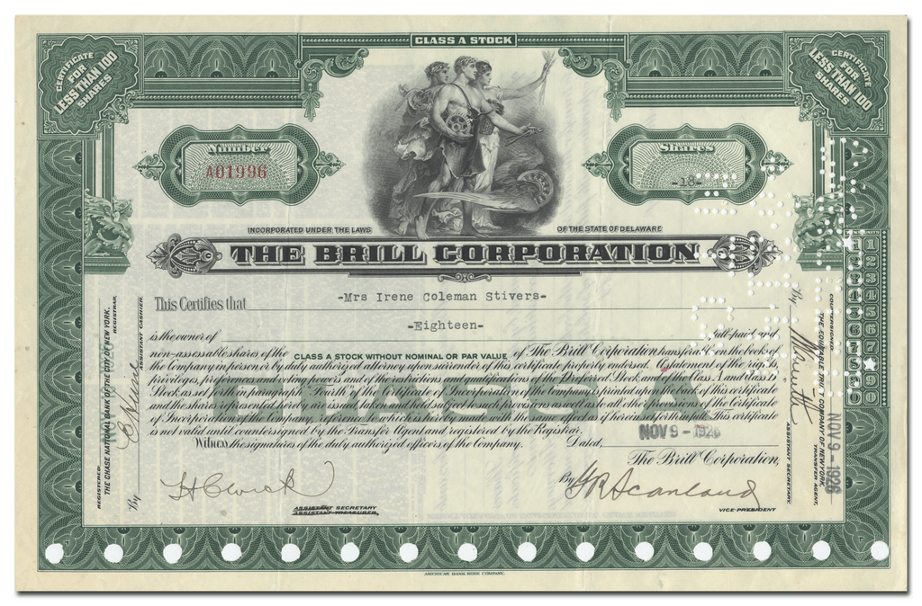 Brill Corporation Stock Certificate