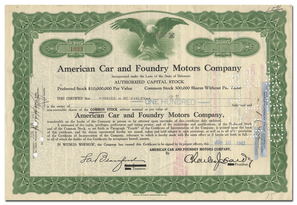 American Car and Foundry Motors Company Stock Certificate