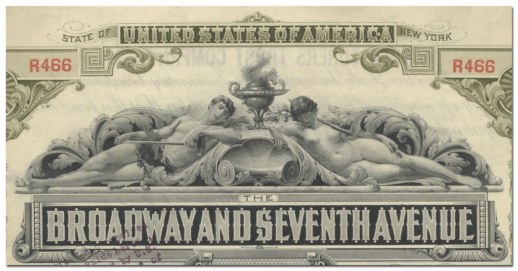 Broadway and Seventh Avennue Railroad Company Bond Certificate