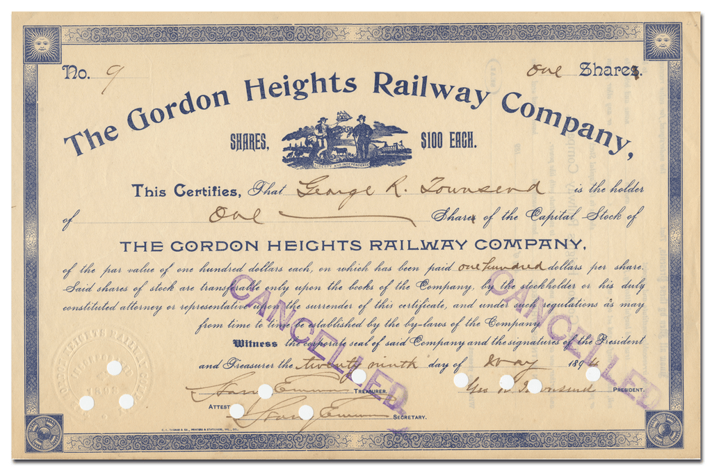 Gordon Heights Railway Company Stock Certificate