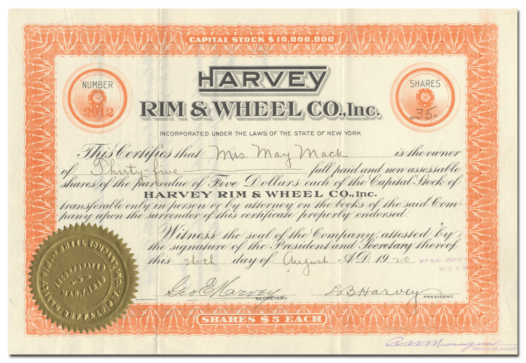 Harvey Rim & Wheel Co., Inc. Stock Certificate