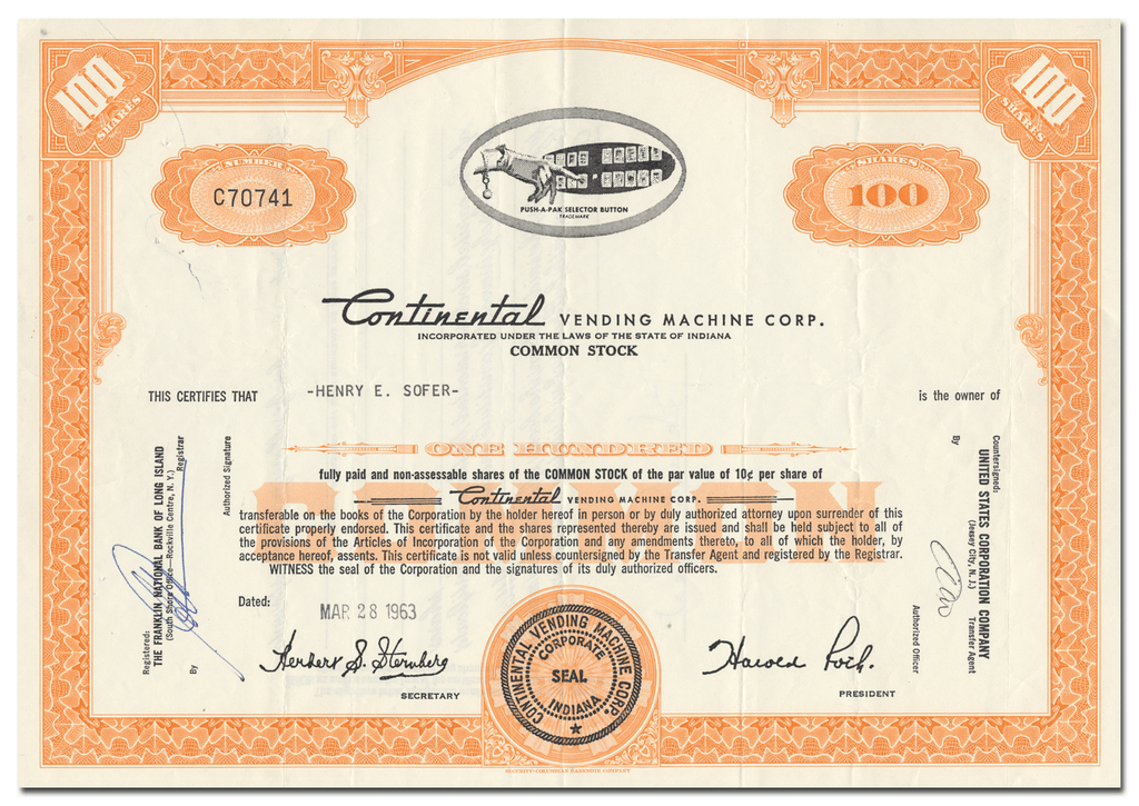 Continental Vending Machine Corp. Stock Certificate