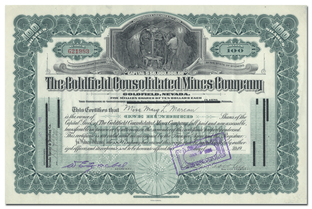 Goldfield Consolidated Mines Company Stock Certificate