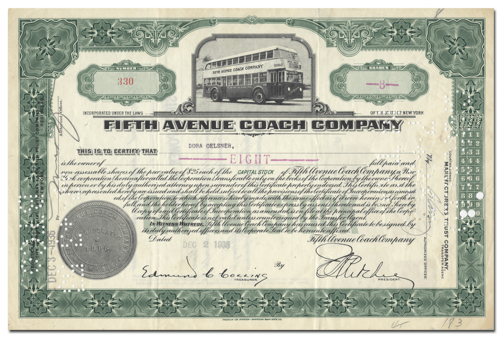 Fifth Avenue Coach Company Stock Certificate