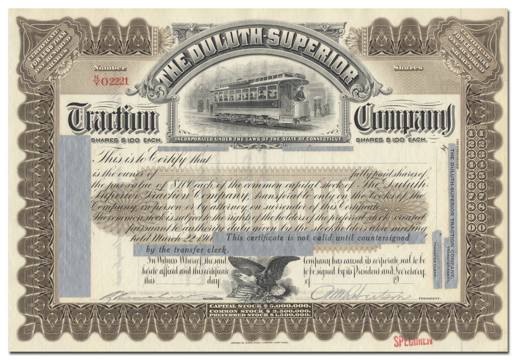 Duluth-Superior Traction Company Specimen Stock Certificate