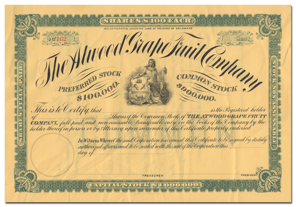 Atwood Grape Fruit Company Stock Certificate