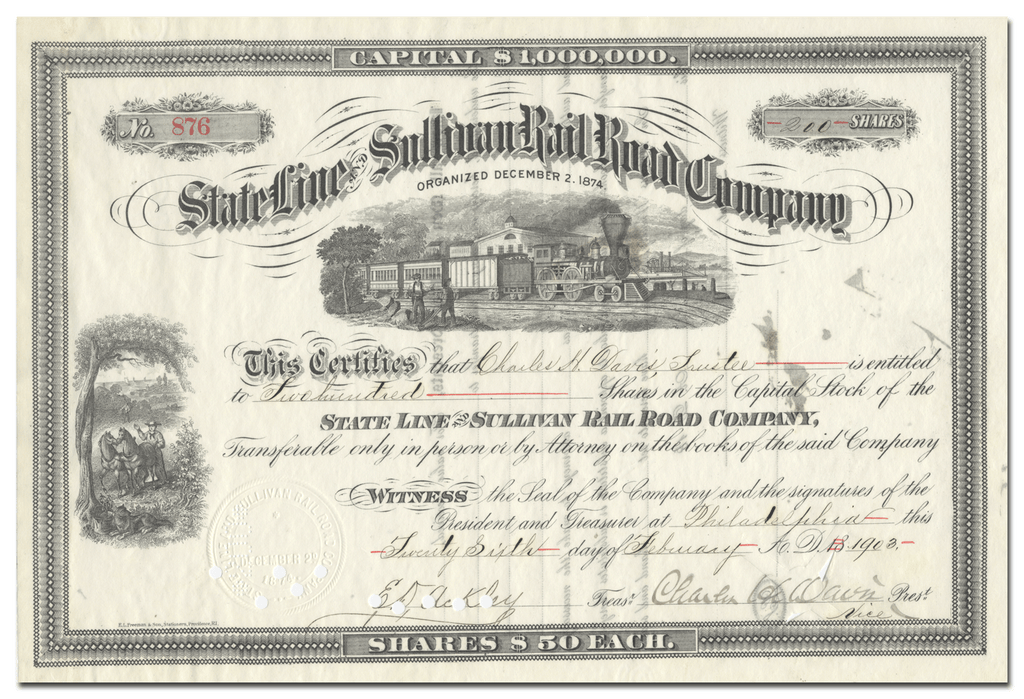 State Line and Sullivan Rail Road Company Stock Certificate