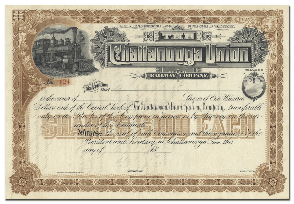 Chattanooga Union Railway Company Stock Certificate