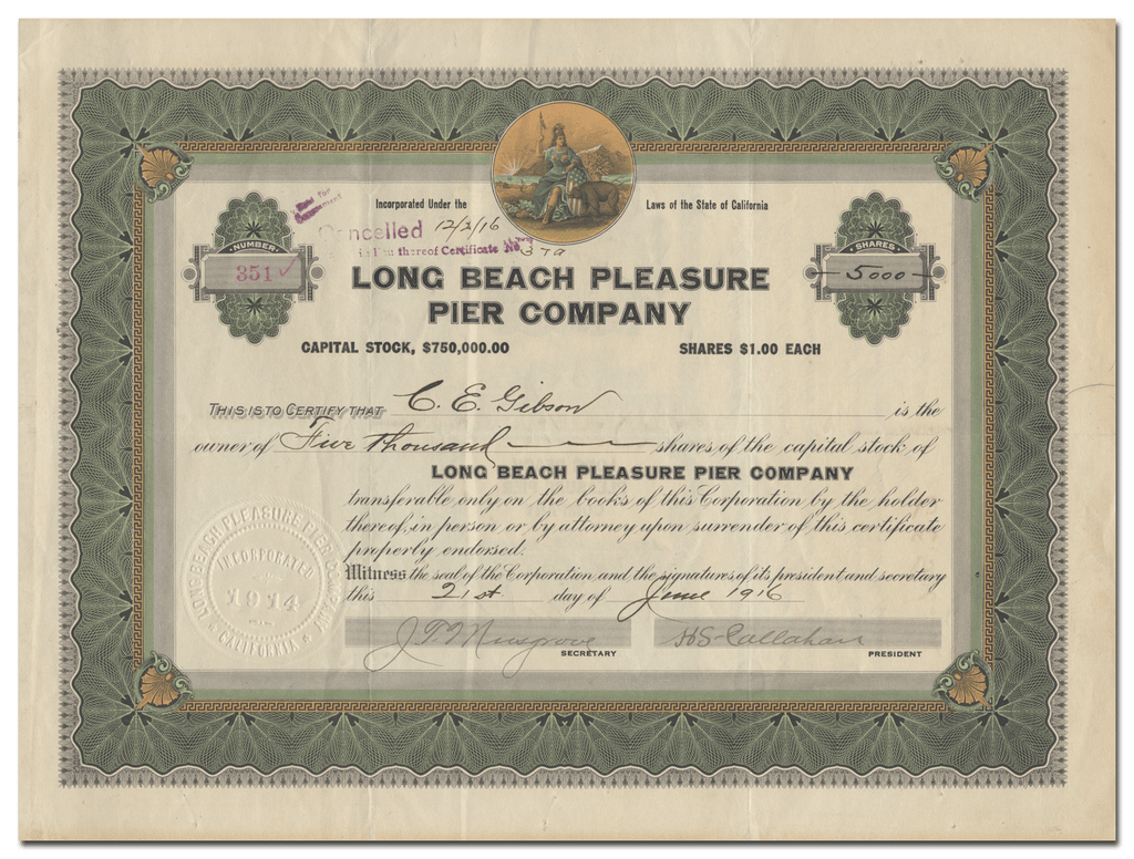 Long Beach Pleasure Pier Company Stock Certificate