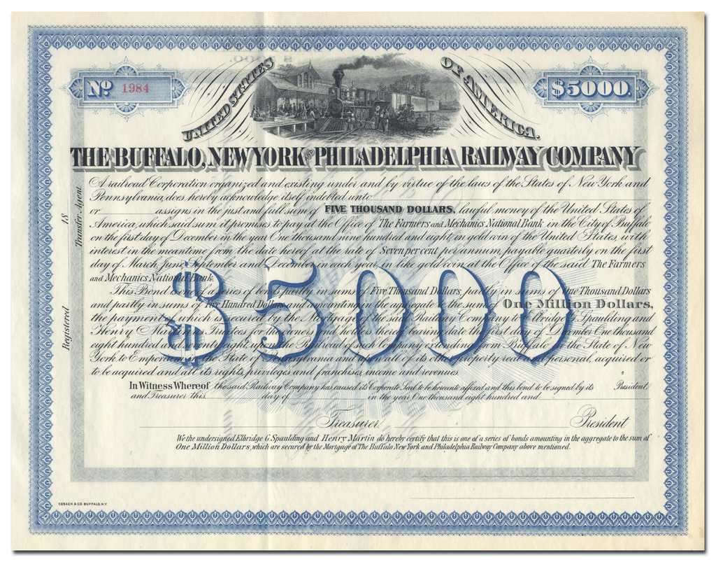 Buffalo, New York and Philadelphia Railway Company Bond Certificate