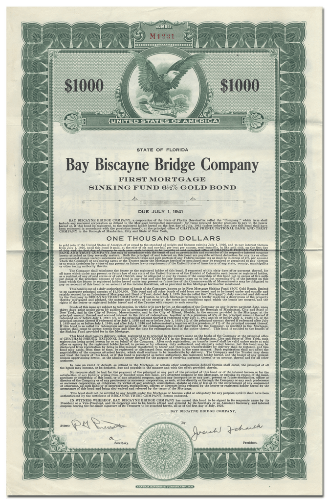 Bay Biscayne Bridge Company Bond Certificate
