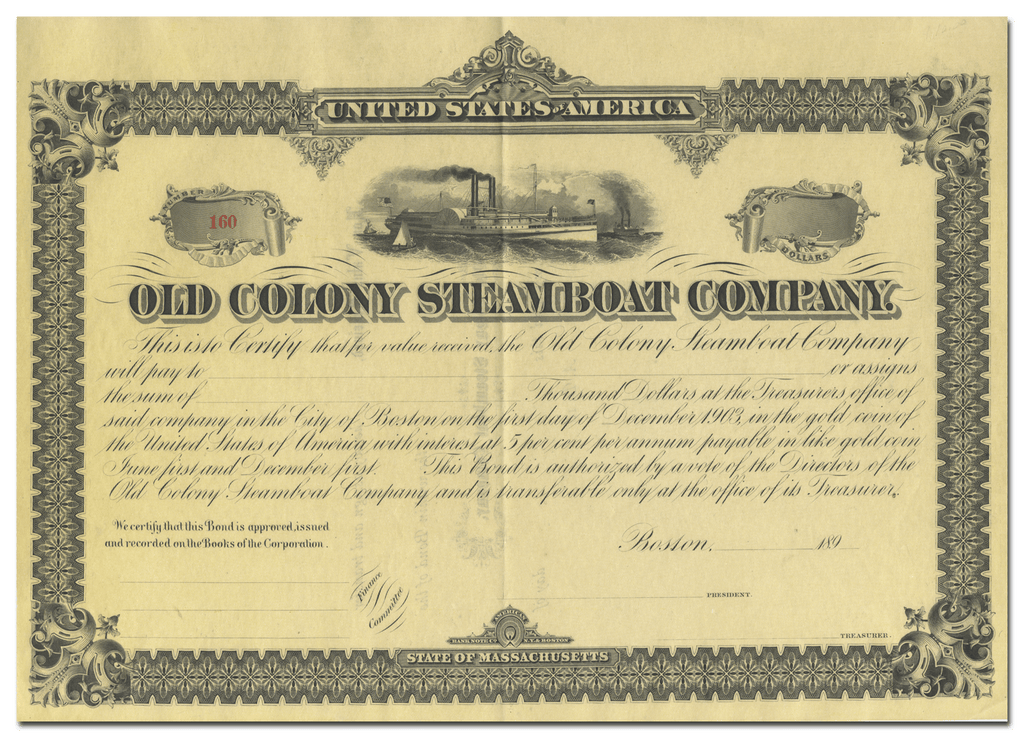 Old Colony Steamboat Company Bond Certificate