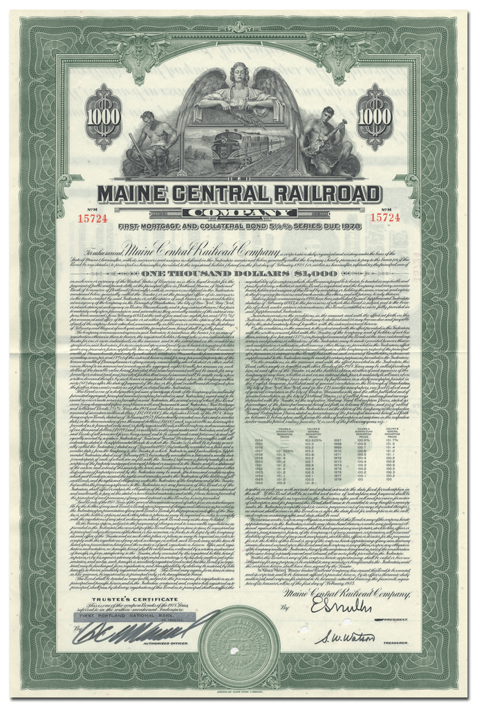 Maine Central Railroad Company Bond Certificate