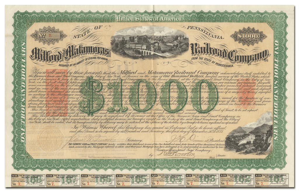 Milford and Matamoras Railroad Company Bond Certificate