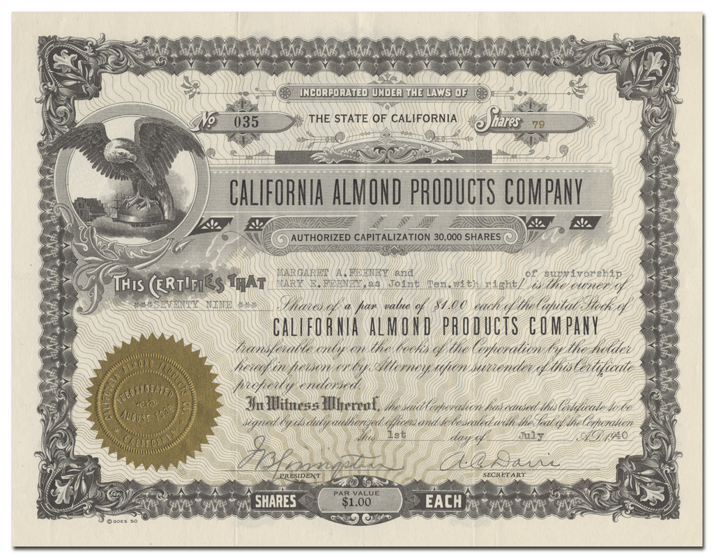 California Almond Products Company Stock Certificate
