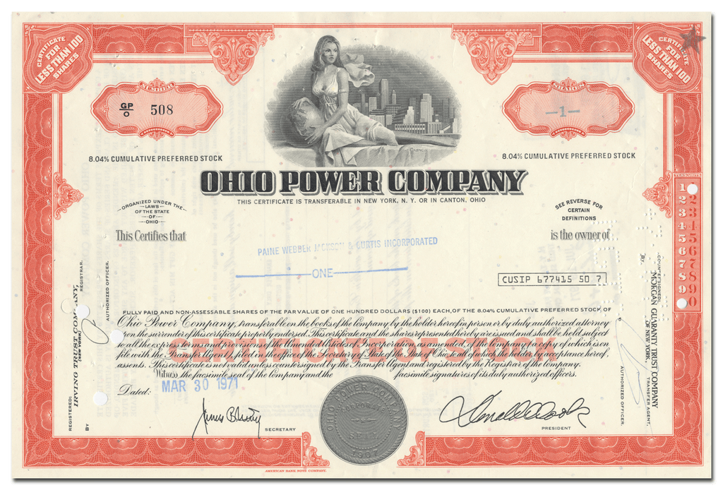Ohio Power Company Stock Certificate