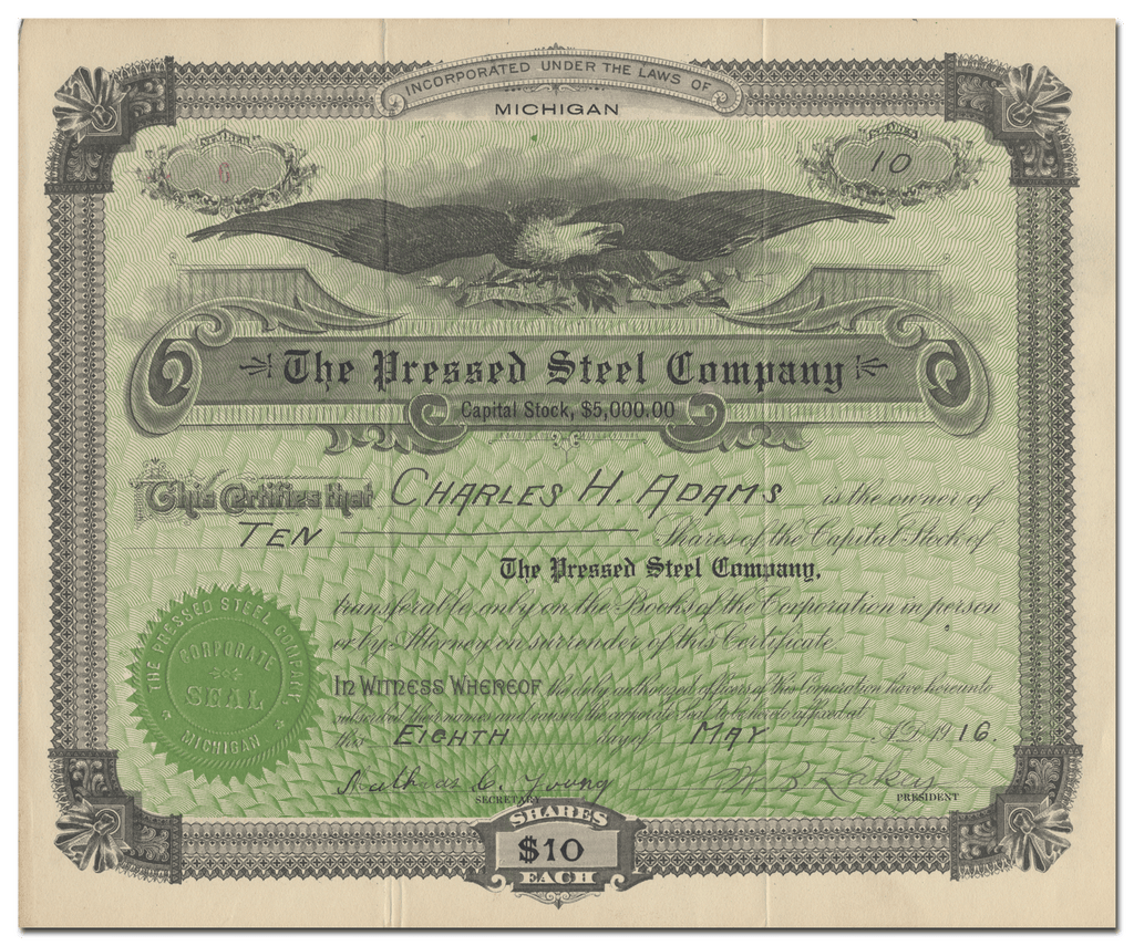 Pressed Steel Company Stock Certificate