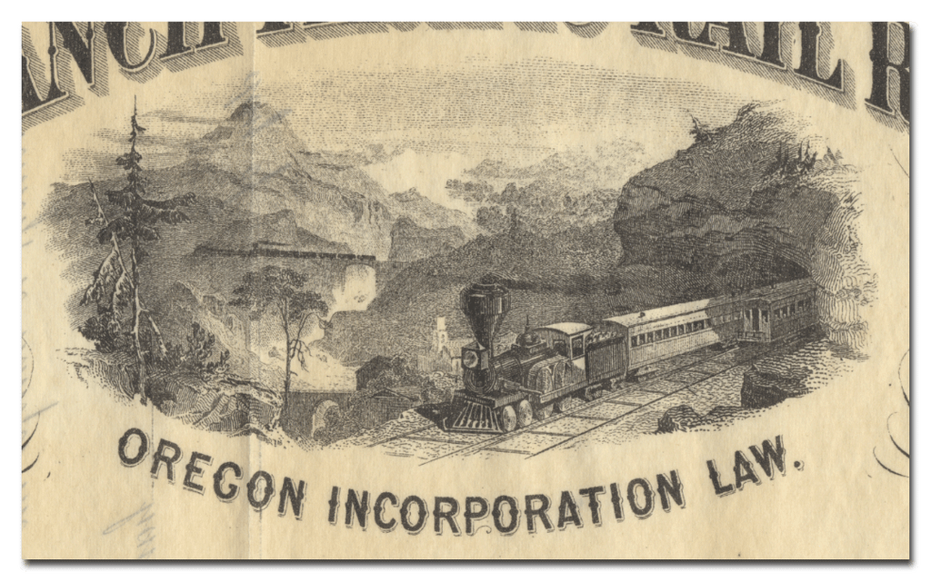 Oregon Branch Rail Road Company Stock Certificate