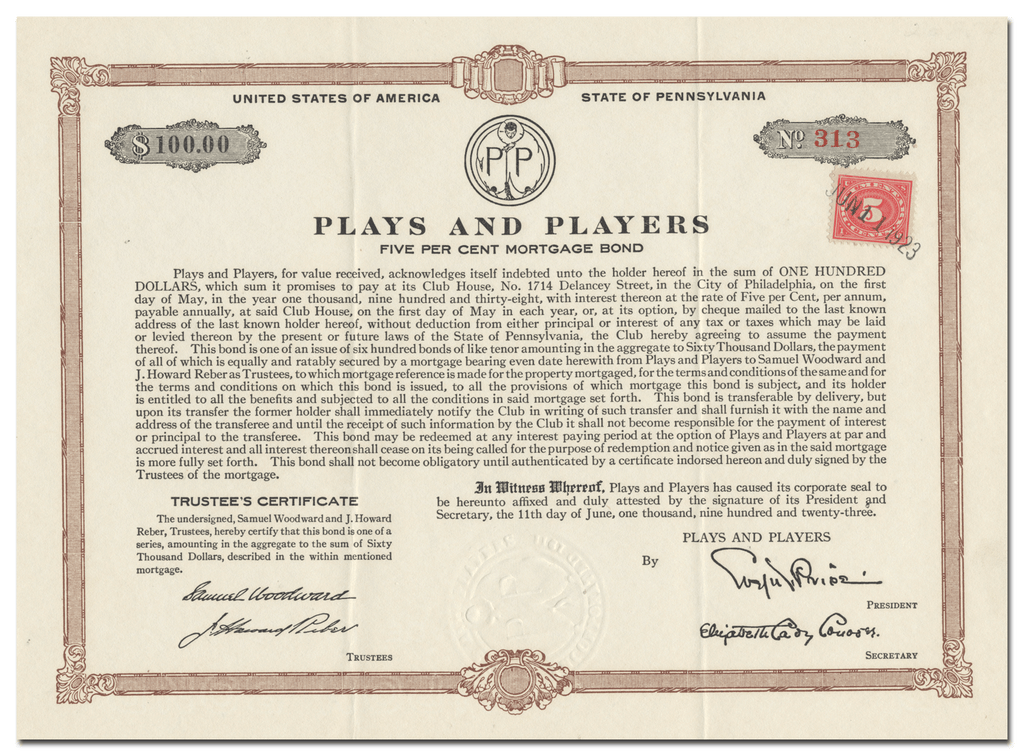 Plays and Players Bond Certificate