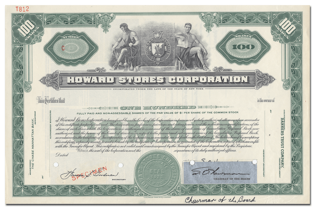 Howard Stores Corporation Specimen Stock Certificate