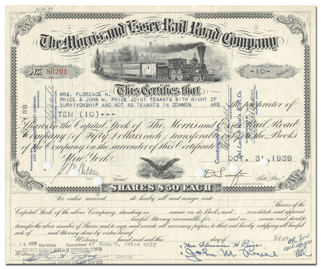 Morris and Essex Rail Road Company Stock Certificate