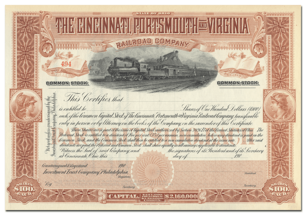 Cincinnati, Portsmouth and Virginia Railroad Company Stock Certificate