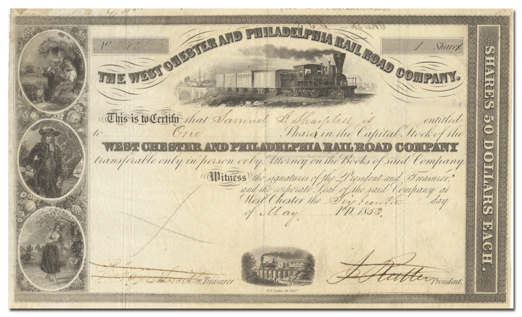 West Chester and Philadelphia Rail Road Company Stock Certificate