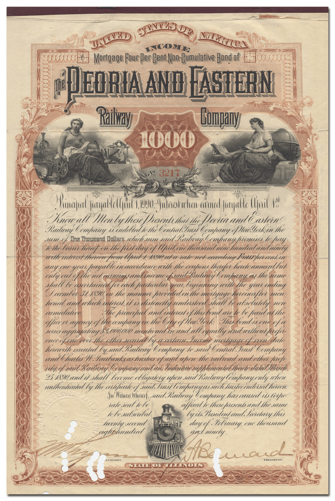 Peoria and Eastern Railway Company Bond Certificate